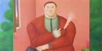 hombre que fuma [detail] by fernando botero